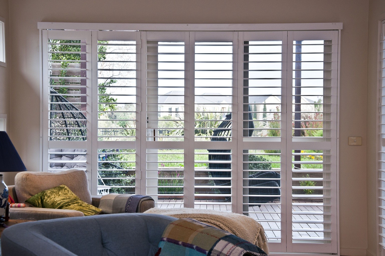 Bi Fold With Track Plantation Shutters